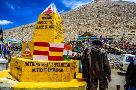 Ladakh,India. 26-June 2016, Tourist near the stone of Changla Pass at Ladakh, Kashmir, India.