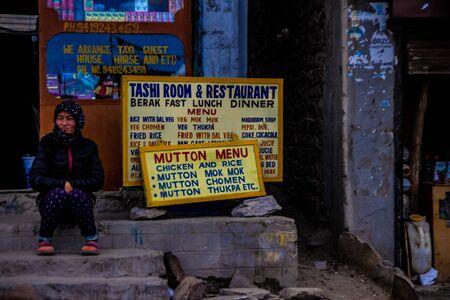 June 27,2016, Tsomoriri Leh, India. A lady in front of a shop at tsomoriri region of Leh, kashmir, India. Redakční