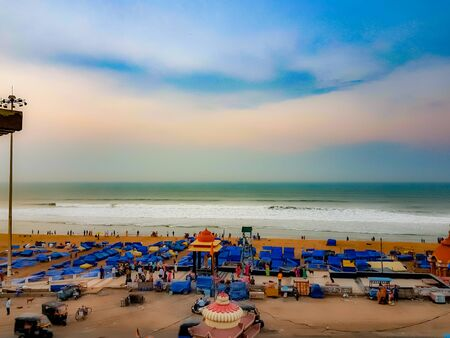 April 22,2019. Puri, India. View of puri beach market area during early morning.This area is locally known as Swargadwar or gateway to heaven.