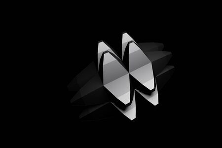 3D digitally rendered polygonal metallic object with blunt spikes on all sides isolated in black background Reklamní fotografie