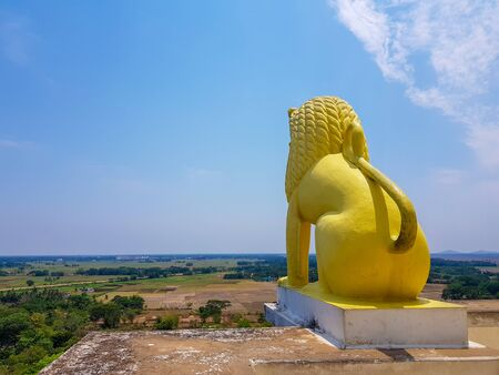 skyline of odisa and golden lion statue at theview point of dhauli shanti stupa at odisha,India