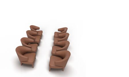 3d render of four set of brown single armchair sofa arranged facing each other in solid white background with space for text.meeting concept