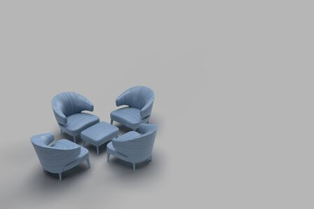 3d render of blue leather coated single sofa facing each other with center table in grey background. Meeting concept with space for text