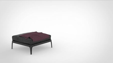 3d render of a metallic quadruped sitting stool with leather matttress and a cloth on top and space for text