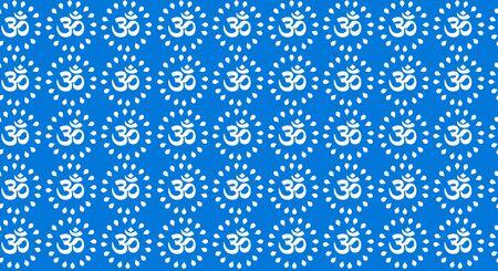 rajasthani bagru block print om seamless pattern textile design white on indigo. Archivio Fotografico