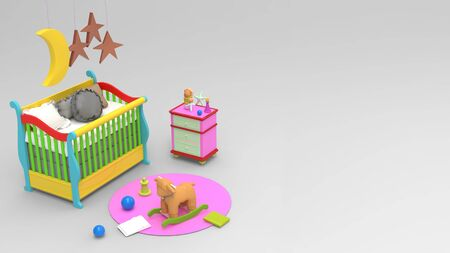 3d render of colorful toys and playing room accessories for kids in white background.