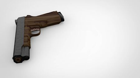3d render of a low polygon handgun in white background.