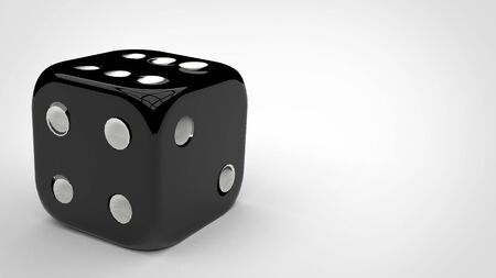 3d render mockup of a shiny plastic rolling dice with white numbers in a white background.