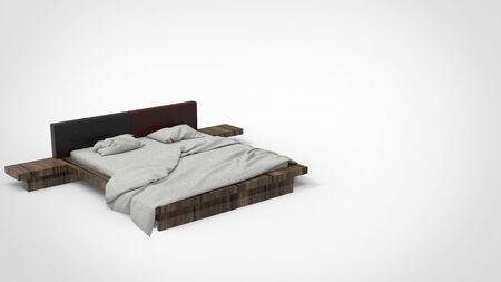 3d render of a wooden bed with white mattress pillow and blanket in white background. 免版税图像