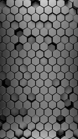 steel polished black metallic Hexagonal abstract 3d background, metal wall with hexagonal pattern 3d rendering. vertical portrait orientation.