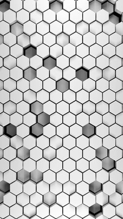 Hexagonal abstract 3d background, white wall with hexagonal pattern 3d rendering in vertical portrait orientation.