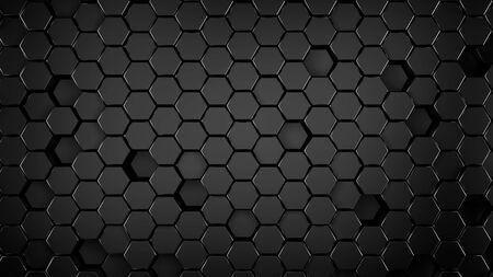 black metallic Hexagonal abstract 3d background, black wall with hexagonal pattern 3d rendering.