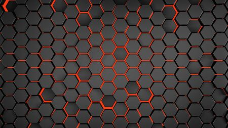 Hexagonal abstract 3d background, black wall with hexagonal pattern with red neon light in background 3d rendering.