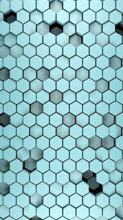 steel polished black metallic Hexagonal abstract 3d background, cyan matt wall with hexagonal pattern 3d rendering. vertical portrait orientation. Archivio Fotografico