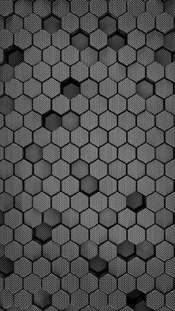 steel polished black metallic Hexagonal abstract 3d background, brush metal texture wall with hexagonal pattern 3d rendering. vertical orientation. Archivio Fotografico