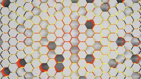 Hexagonal abstract 3d background, white wall with hexagonal pattern and red lining 3d rendering. Archivio Fotografico