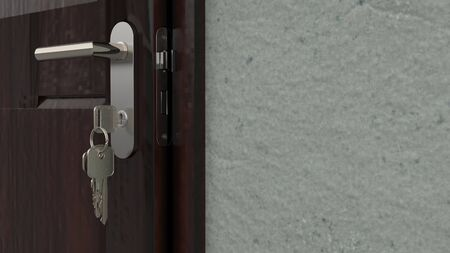 3d render of a wooden door lock with keys attached in the keyhole. Archivio Fotografico