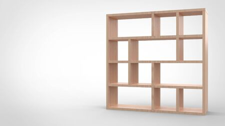 3d render of a wooden segmented blank book shelf in white background.