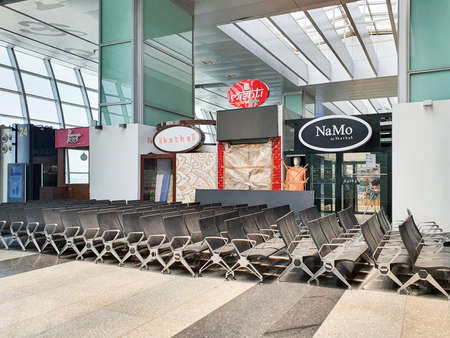 6th June 2020- Netaji Subhas Chandra Bose International Airport, Calcutta, India-chairs stacked and piled at a side as airports remain vacated during covid 19 pandemic lockdown.