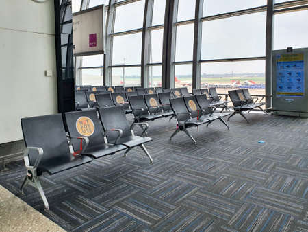 6th June 2020- Netaji Subhas Chandra Bose International Airport, Calcutta, India-Seats arranged to maintain social distancing at Calcutta Airport as flight services domestic resumes.