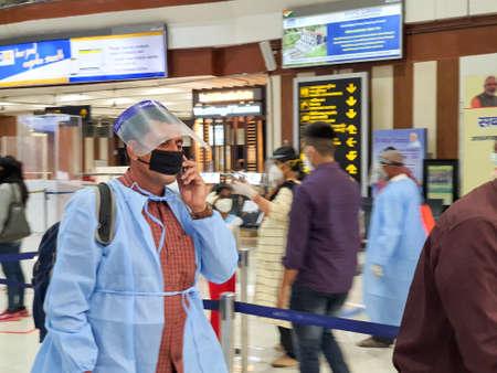 6th June 2020- Bagdogra Airport,Siliguri, West Bengal, India-Passengers in protective gear while flight services resume post corona pandemic lockdown at Bagdogra airport.