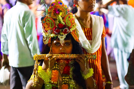 August 15th, 2020, ISKCON temple, Krishnanagar, Nadia West Bengal. A young unidentified boy dressed as lord krishna at a cosplay fare at Iskon, Ksiahnanagr, Nadia West bengal.