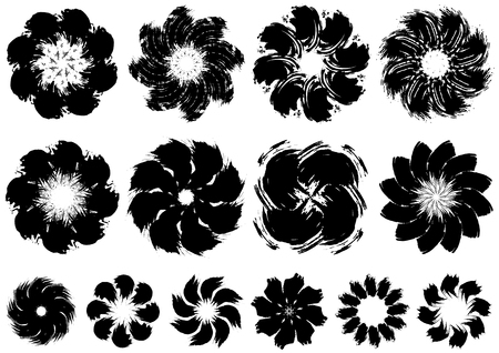 Brush painted flowers image 向量圖像