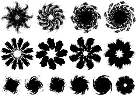 Brush painted flowers image 일러스트