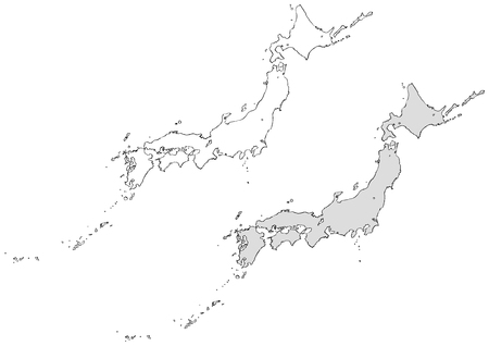 Japan map drawn with a brush Ilustração