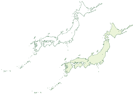 Japan map drawn with a brush Ilustrace