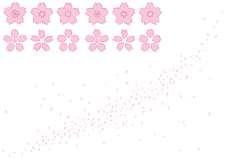 Set of cherry blossoms written with brush