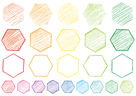 Hexagon written with crayons Illustration