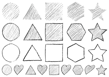 Shapes written with crayons