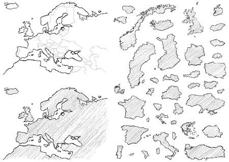 Carte de l'Europe écrite avec des crayons
