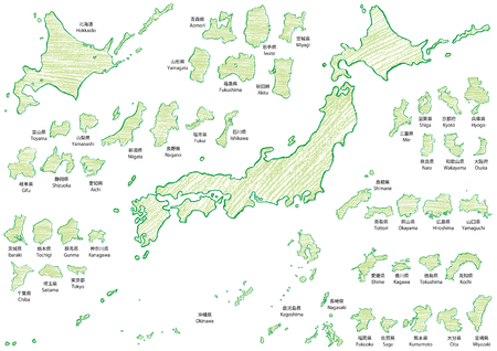 Japan map written with crayons
