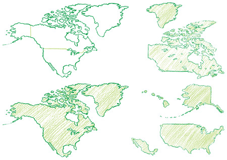 Map of North America written with crayons