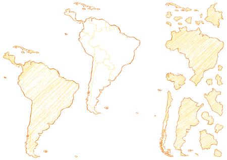 Map of South America written with crayons Illustration