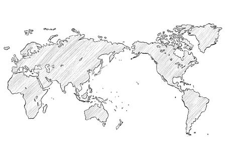 Weltkarte mit Buntstiften geschrieben