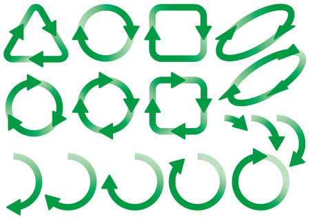 Material of recycling and arrows Ilustracja