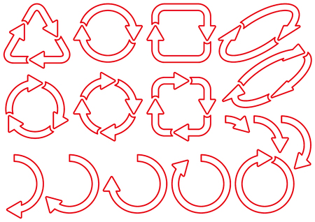 Material of recycling and arrows Illustration