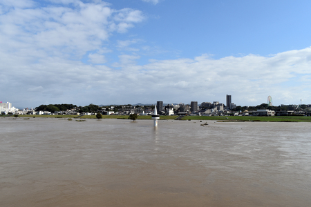 Japanese rivers that have been flooded by typhoons Фото со стока