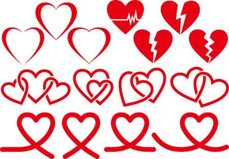 Colección de material de imagen de corazón Ilustración de vector