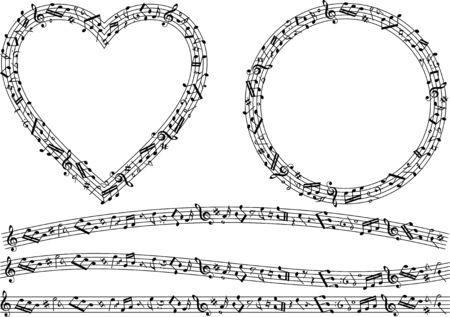 Image material collection of musical notes Illustration