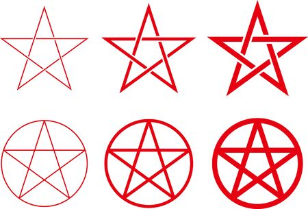 Five-pointed star image material set Stock Illustratie