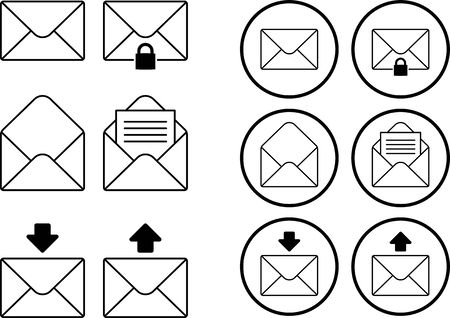 Collection of mail icon illustrations 向量圖像