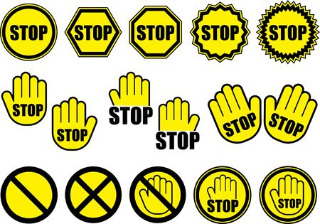 Collection of stop icon illustrations 向量圖像