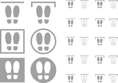 Collection of vector illustrations of footprints