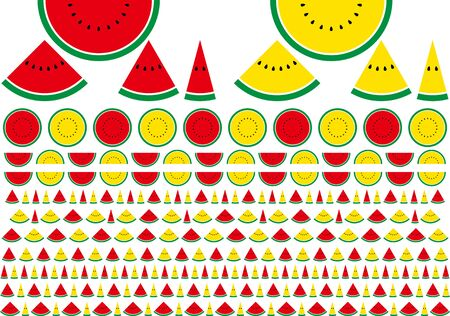 Collection of vector frame material of watermelon 向量圖像