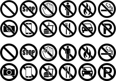 Prohibition warning icon illustration collection Ilustração
