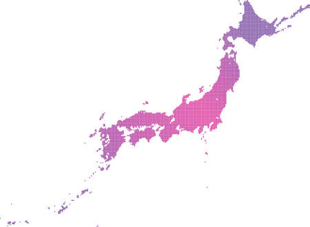 Japan map material written in dots 向量圖像